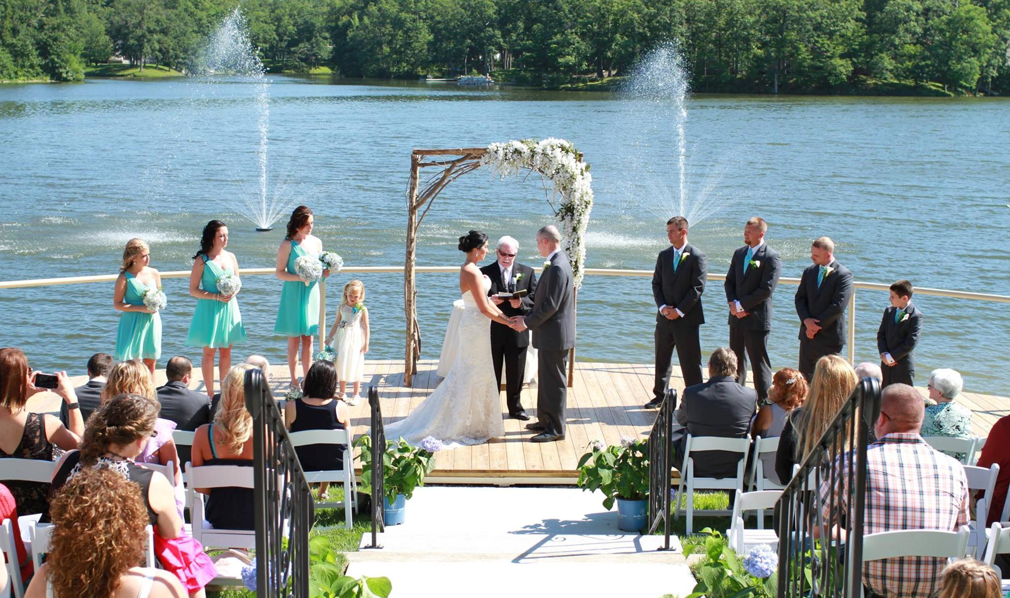 Outdoor Pier Wedding at Oak Terrace