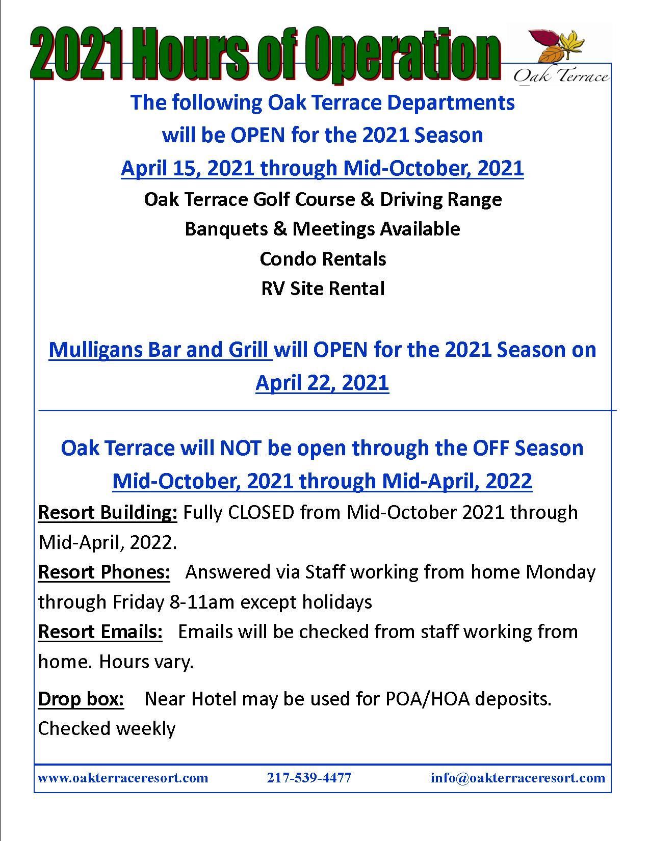 2021 Resort Hours of Operation3